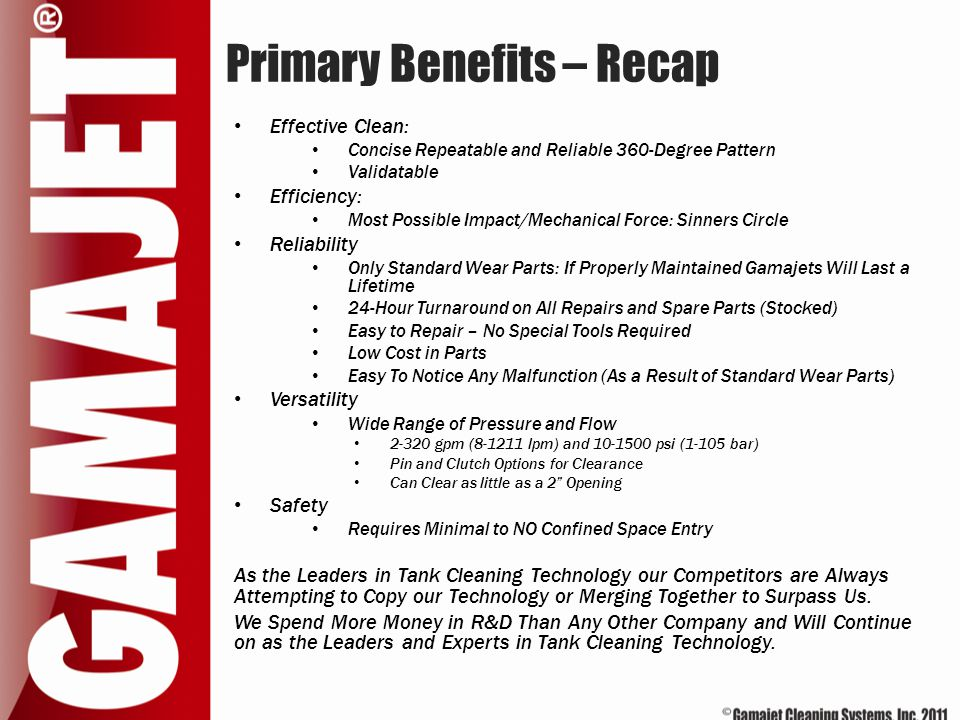 Primary Benefits – Recap