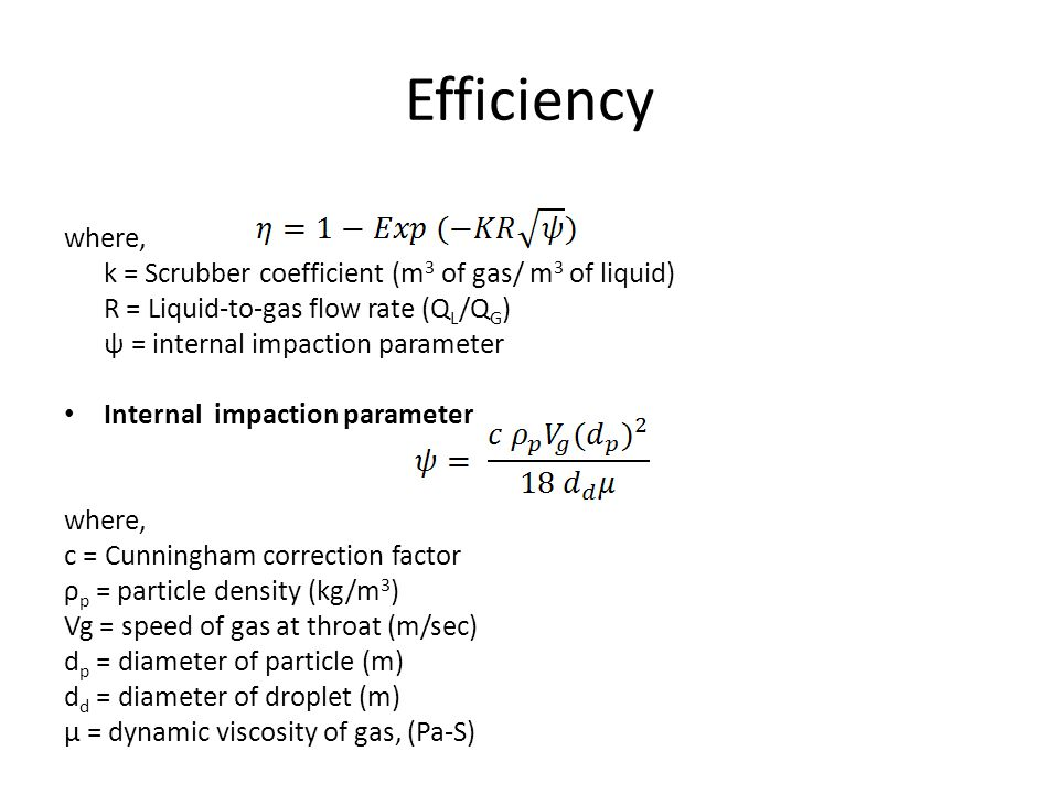 Efficiency where, k = Scrubber coefficient (m3 of gas/ m3 of liquid)