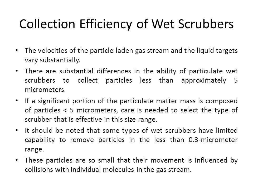 Collection Efficiency of Wet Scrubbers