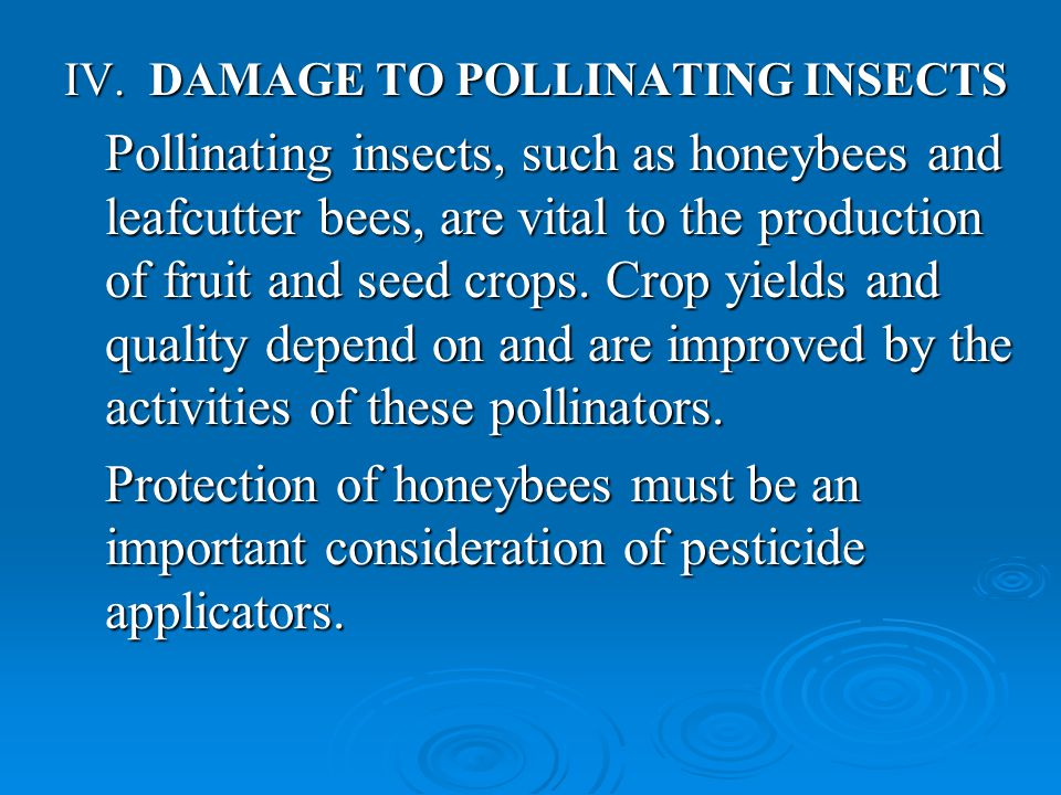 IV. DAMAGE TO POLLINATING INSECTS