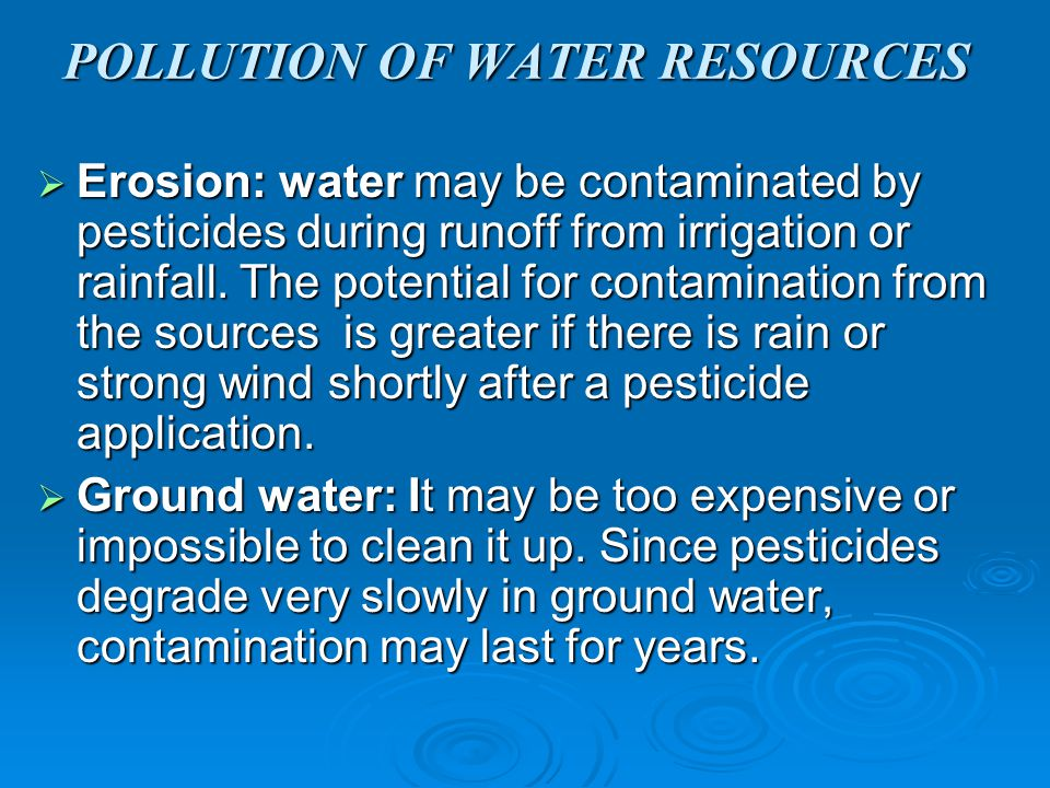 POLLUTION OF WATER RESOURCES