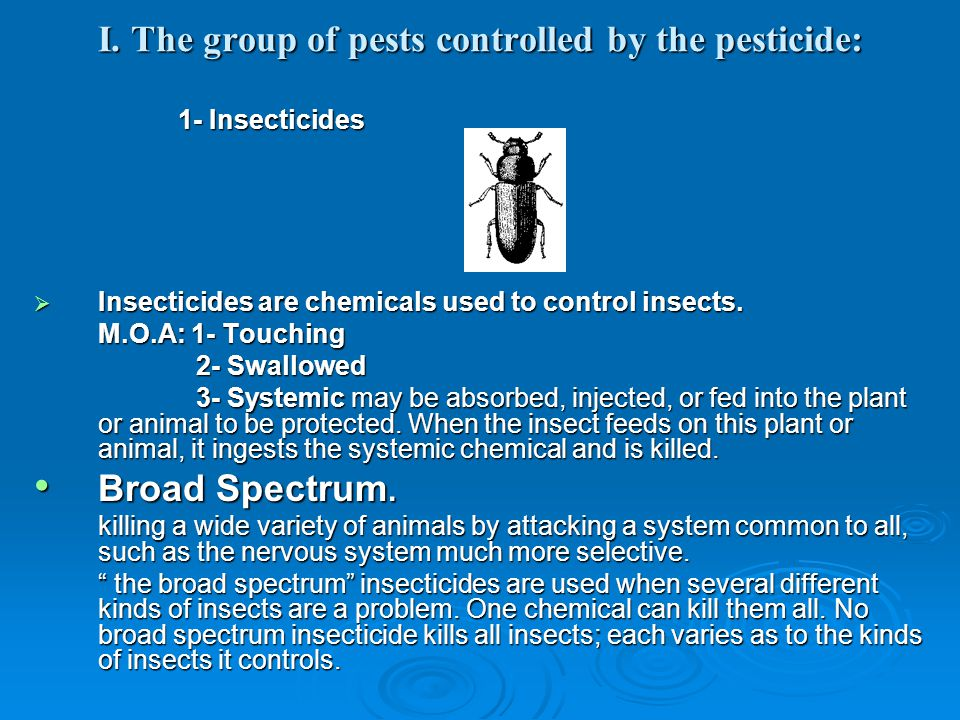 I. The group of pests controlled by the pesticide: