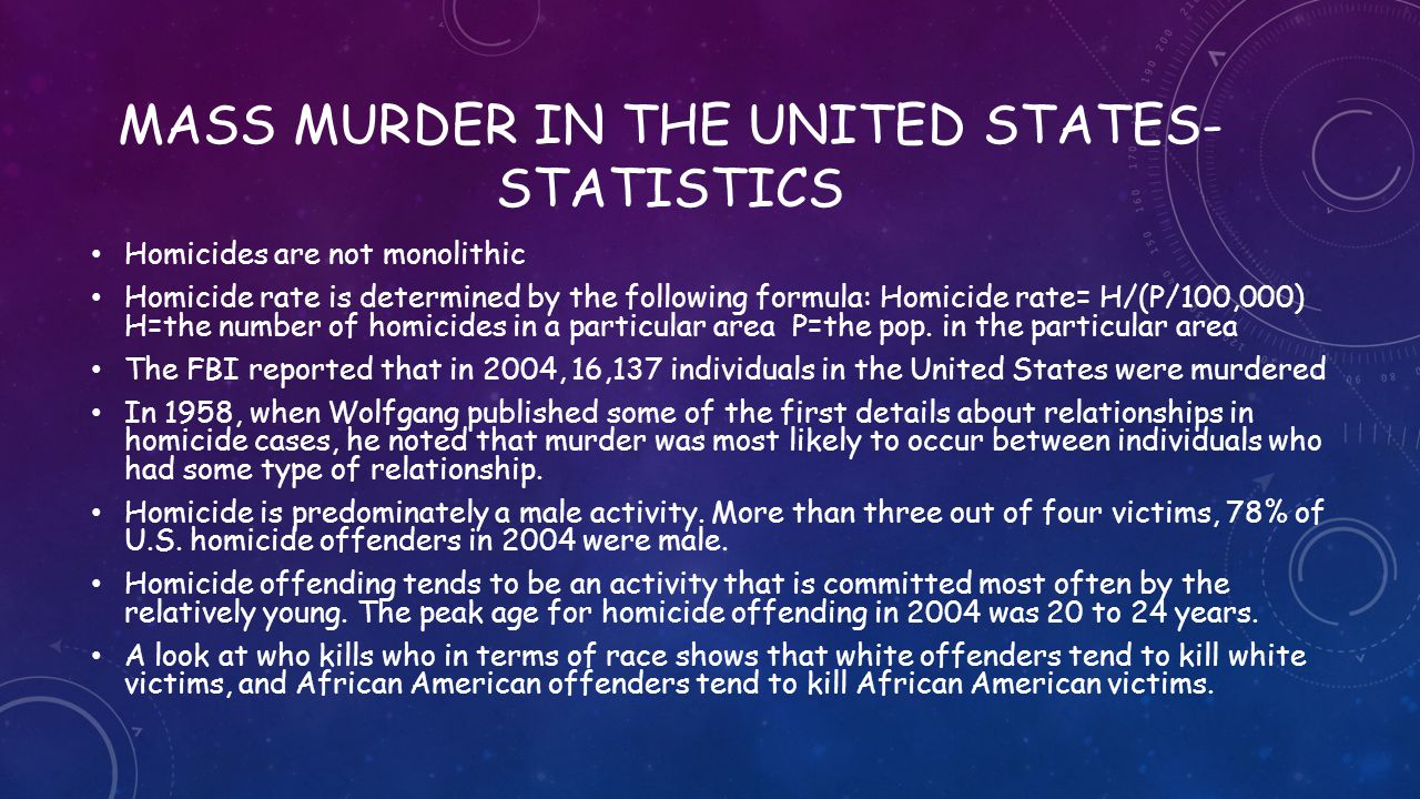 Mass murder in the united states- statistics