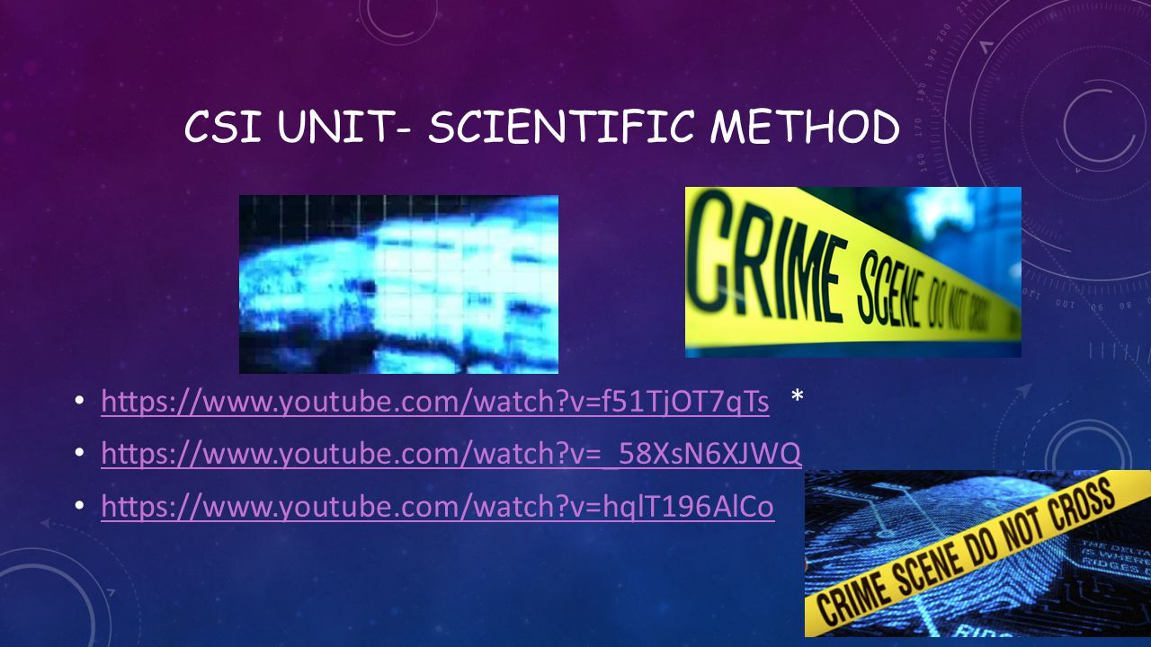 Csi unit- scientific method