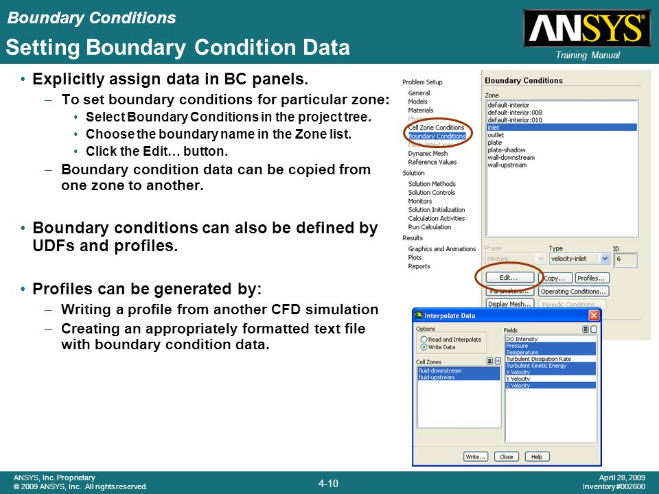 Setting Boundary Condition Data