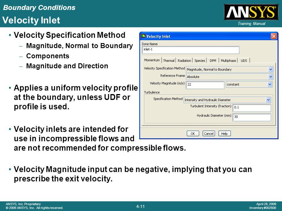 Velocity Inlet Velocity Specification Method
