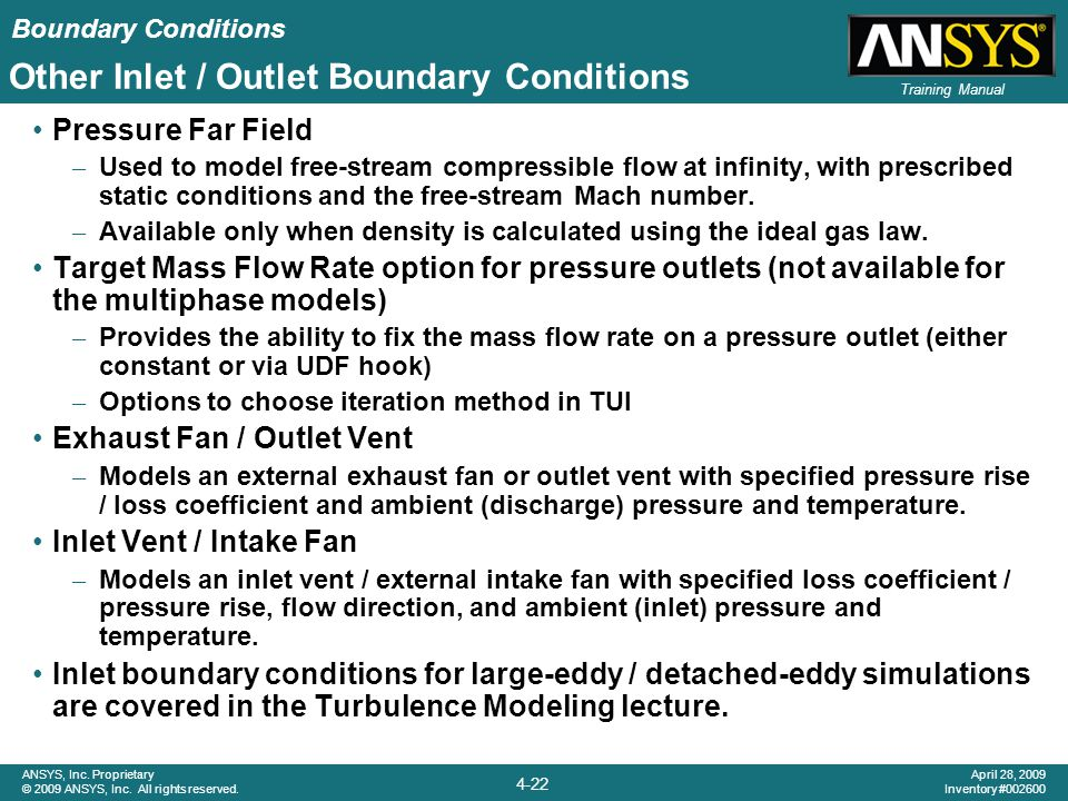 Other Inlet / Outlet Boundary Conditions