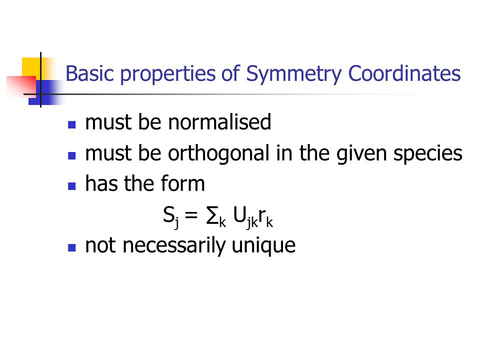 Basic properties of Symmetry Coordinates
