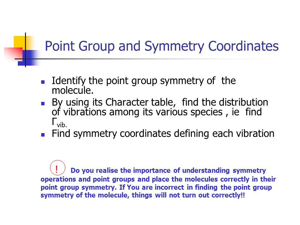 Point Group and Symmetry Coordinates