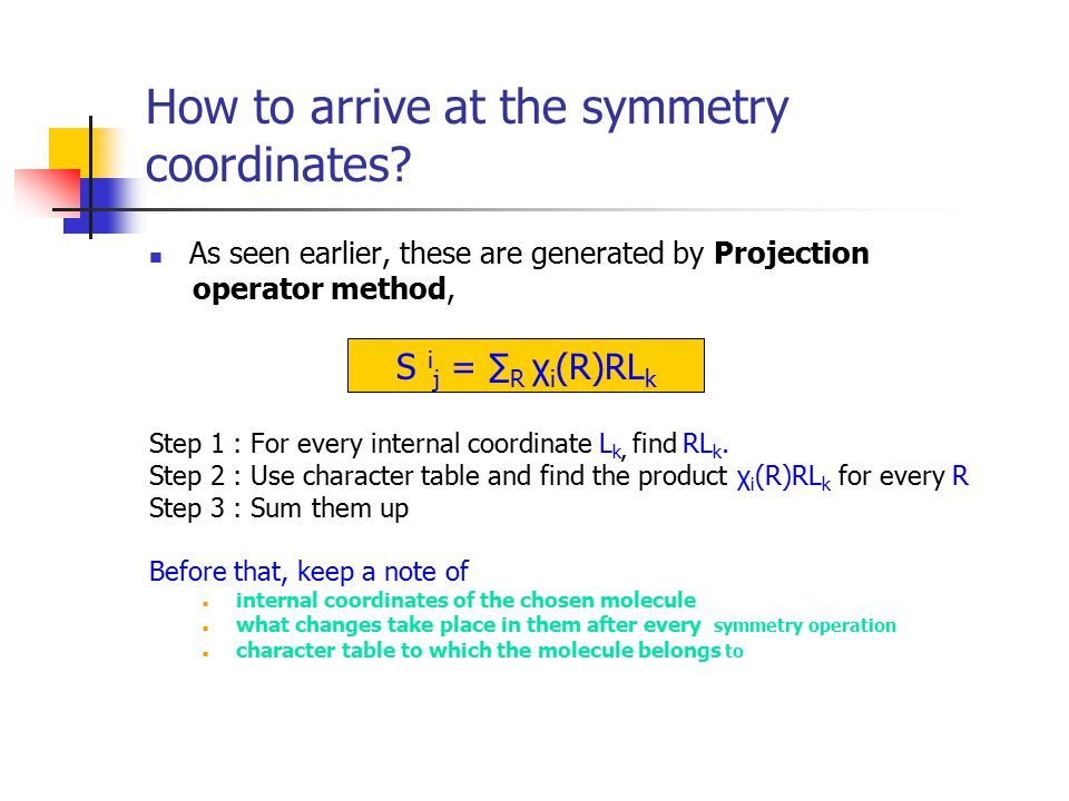 How to arrive at the symmetry coordinates