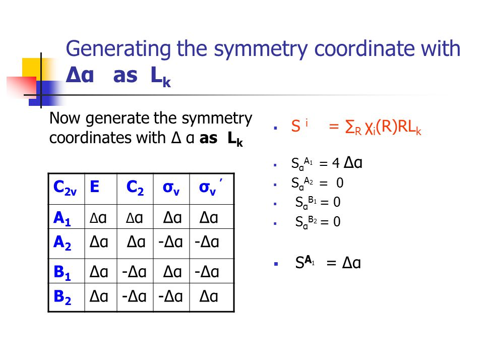 Generating the symmetry coordinate with Δα as Lk
