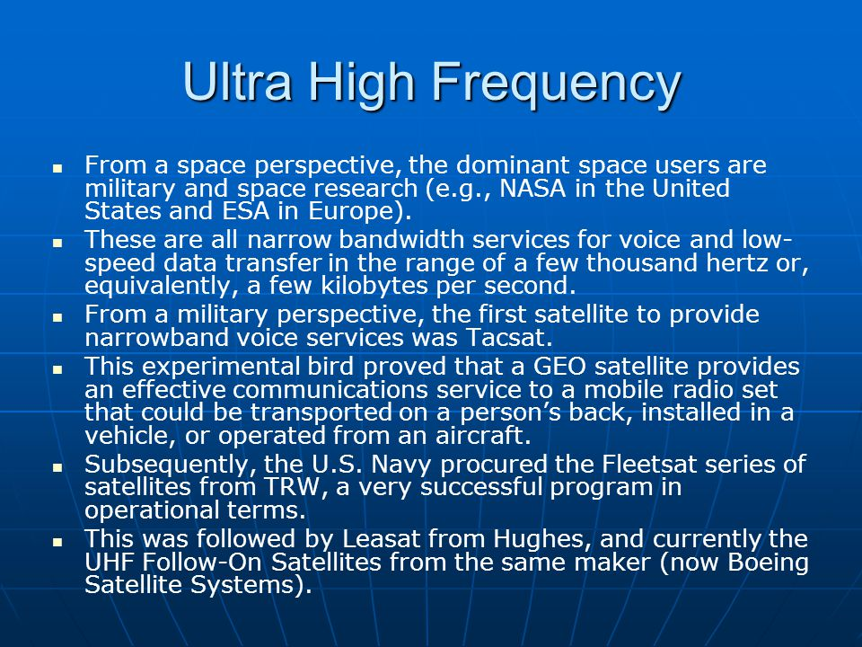 Ultra High Frequency