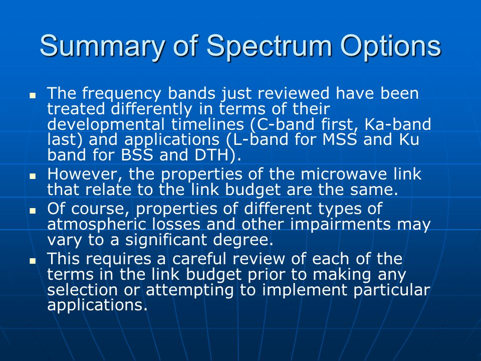 Summary of Spectrum Options