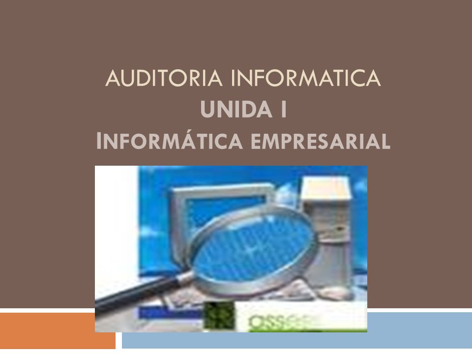 AUDITORIA INFORMATICA Unida I Informática Empresarial