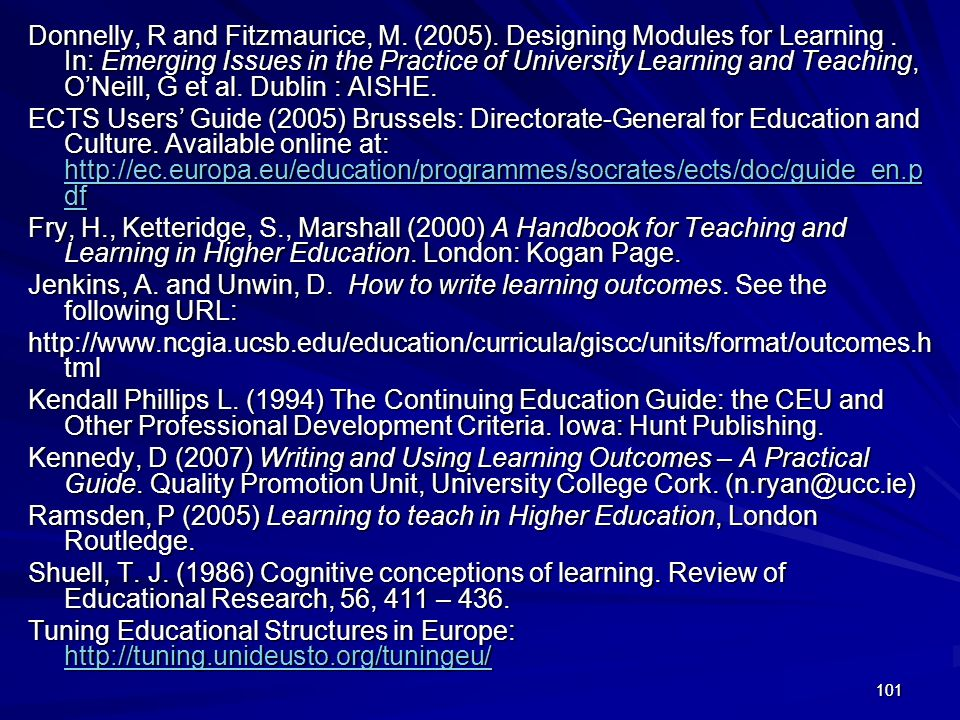Donnelly, R and Fitzmaurice, M. (2005). Designing Modules for Learning