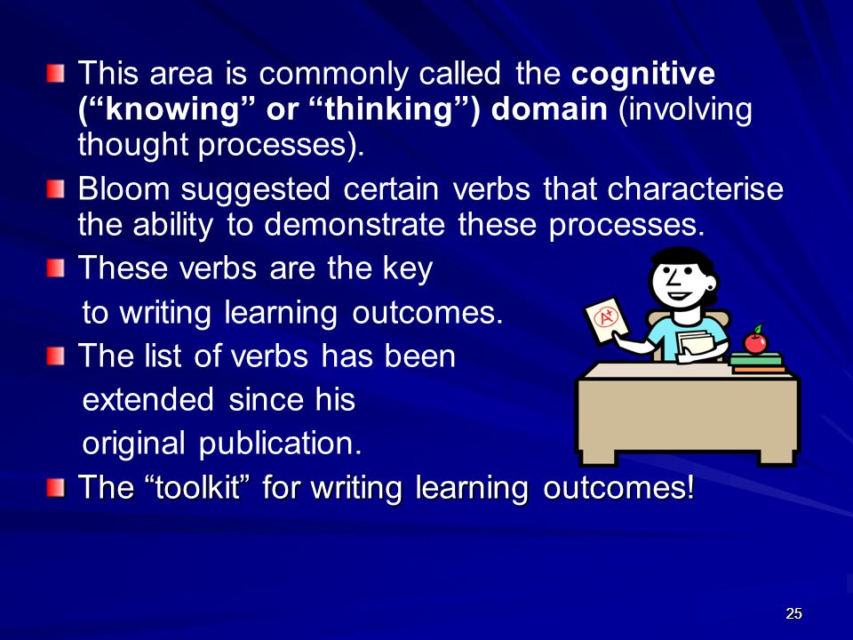 to writing learning outcomes. The list of verbs has been