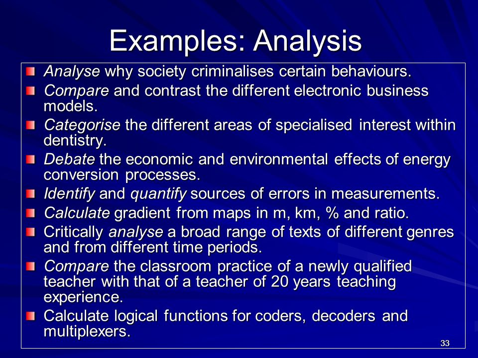 Examples: Analysis Analyse why society criminalises certain behaviours. Compare and contrast the different electronic business models.
