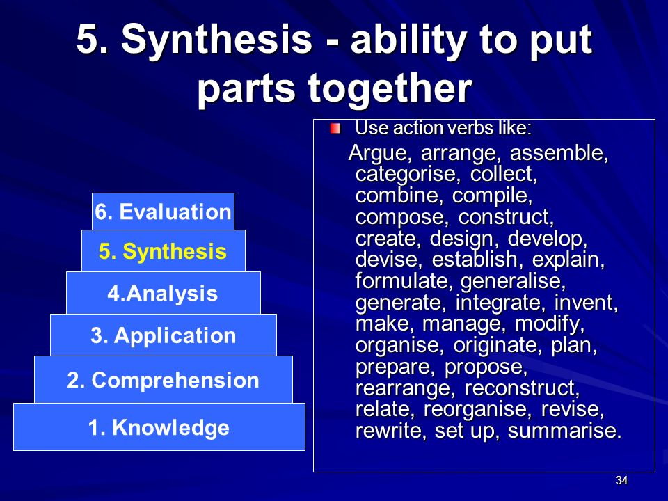 5. Synthesis - ability to put parts together