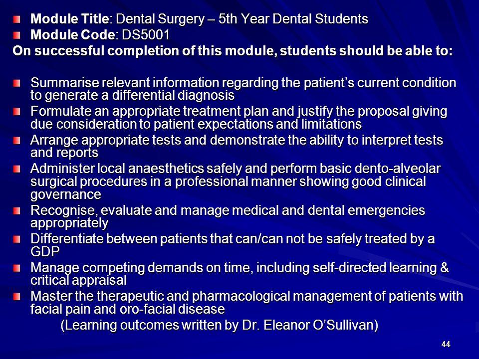 Module Title: Dental Surgery – 5th Year Dental Students