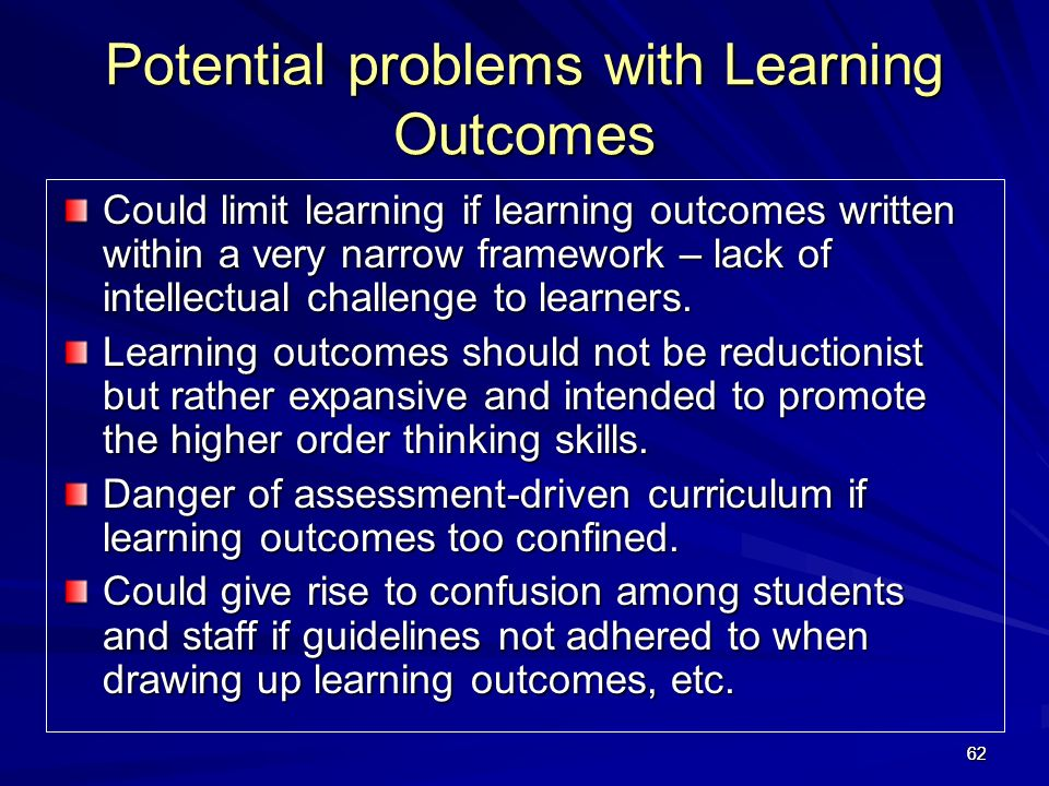 Potential problems with Learning Outcomes