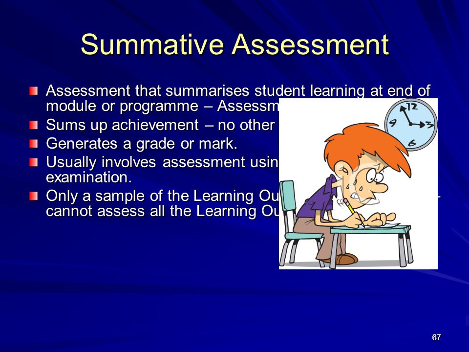 Summative Assessment Assessment that summarises student learning at end of module or programme – Assessment OF Learning.