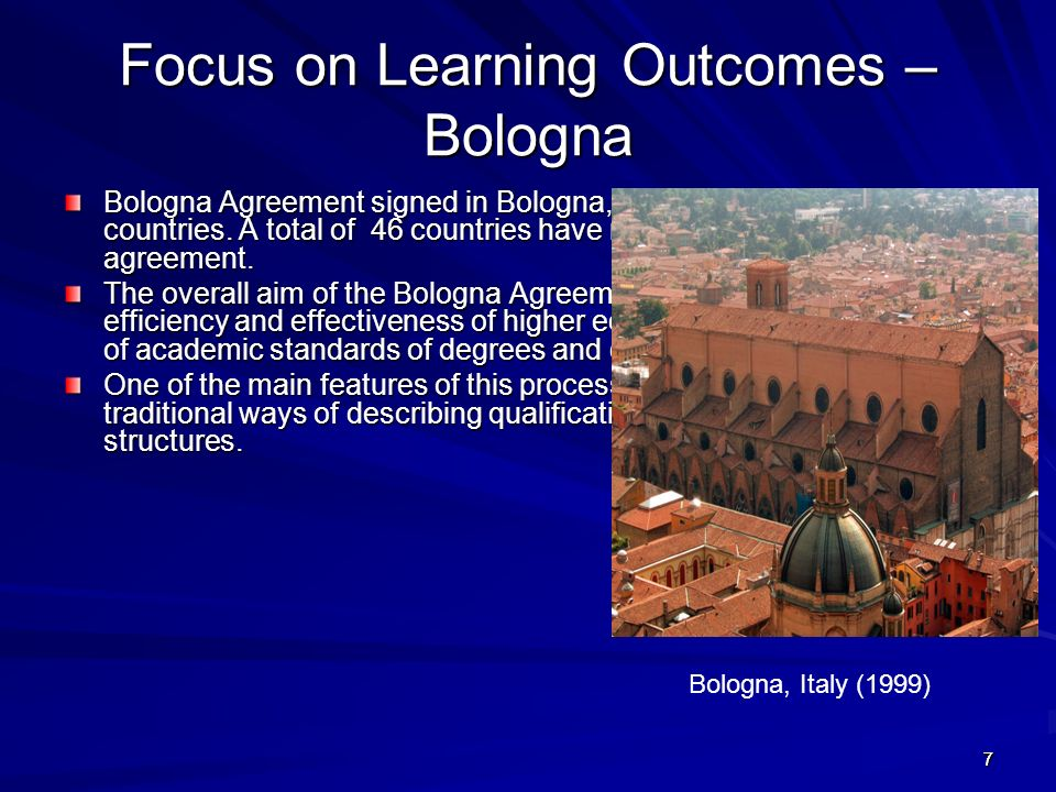 Focus on Learning Outcomes – Bologna