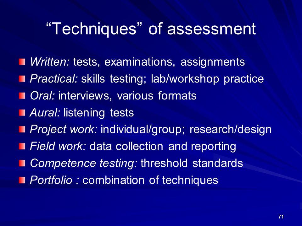 Techniques of assessment