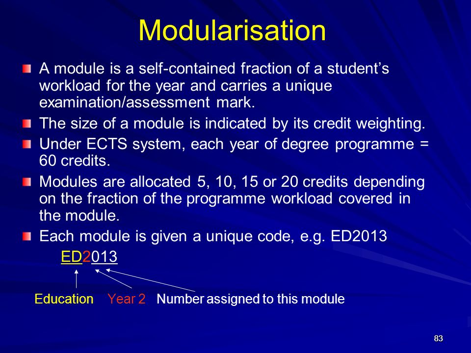 Modularisation A module is a self-contained fraction of a student's workload for the year and carries a unique examination/assessment mark.
