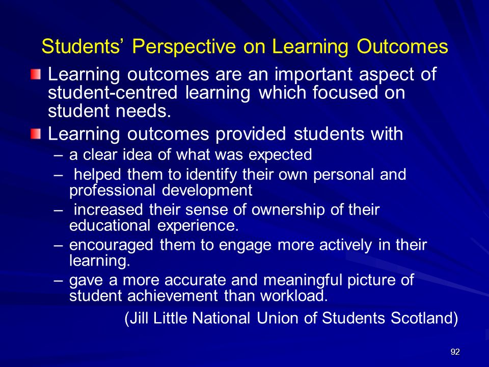 Students' Perspective on Learning Outcomes