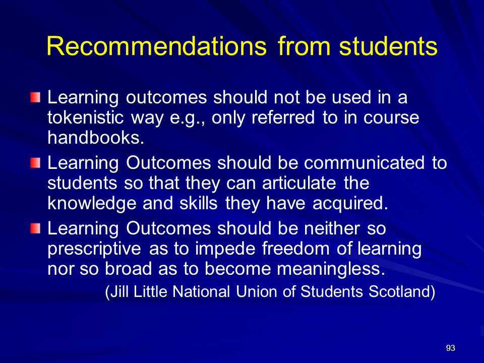 Recommendations from students