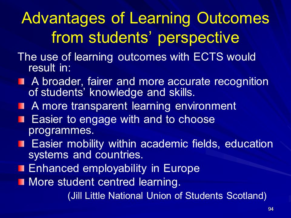 Advantages of Learning Outcomes from students' perspective