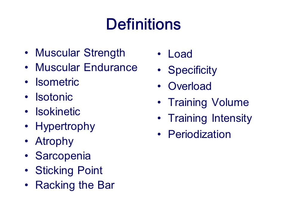 Definitions Muscular Strength Muscular Endurance Isometric Isotonic