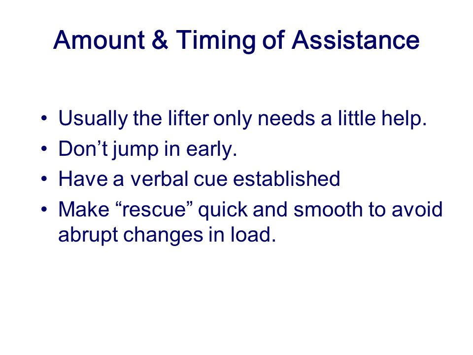 Amount & Timing of Assistance