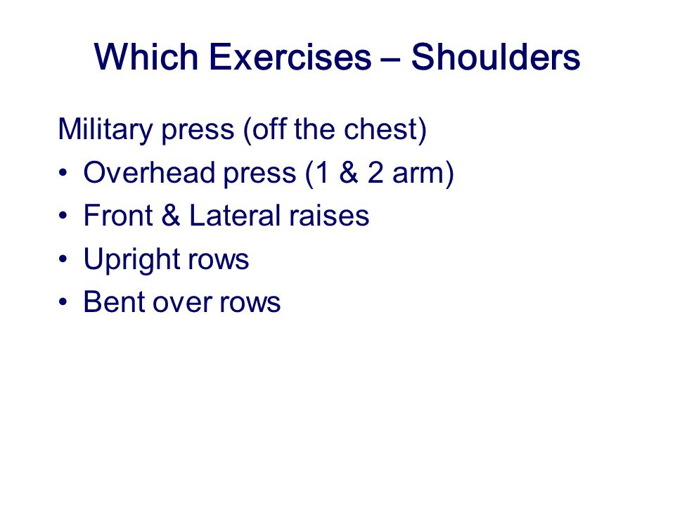 Which Exercises – Shoulders