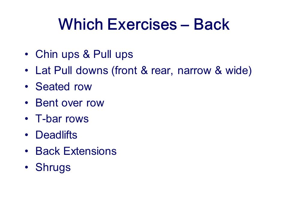Which Exercises – Back Chin ups & Pull ups