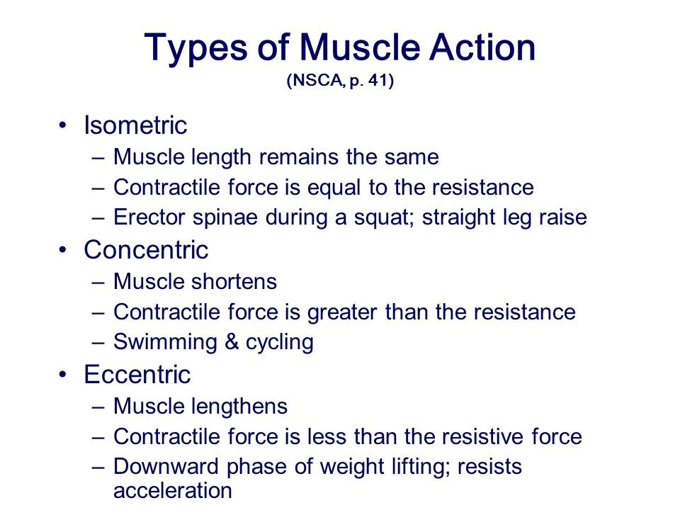 Types of Muscle Action (NSCA, p. 41)