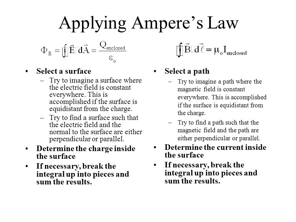 Applying Ampere's Law Select a surface