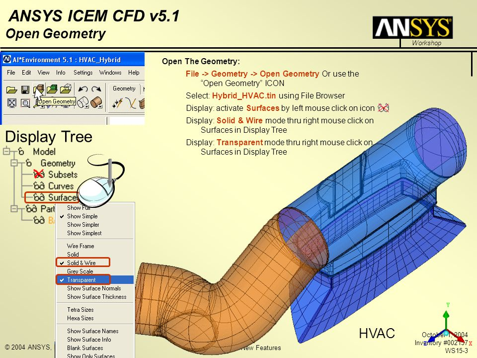 Display Tree Open Geometry HVAC Open The Geometry: