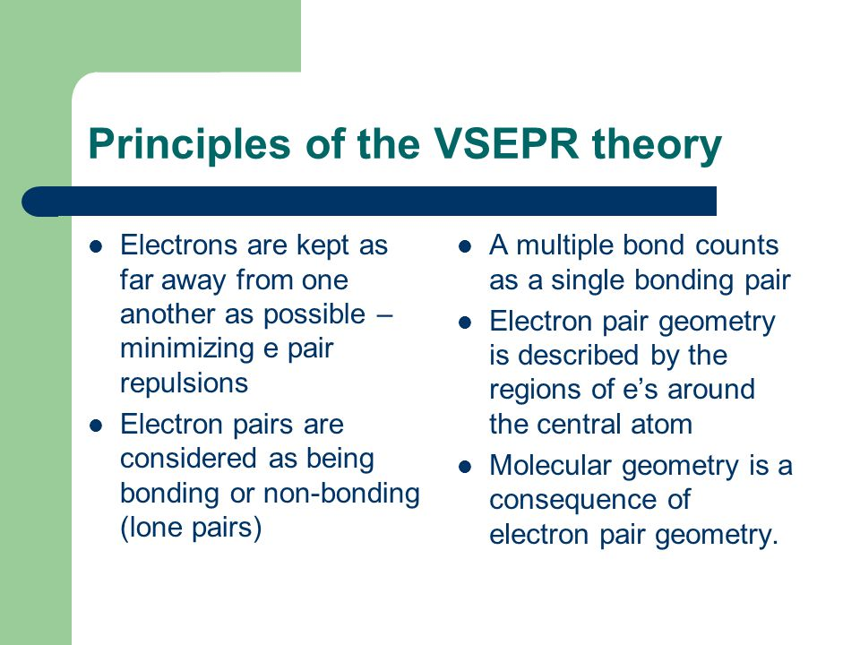 Principles of the VSEPR theory