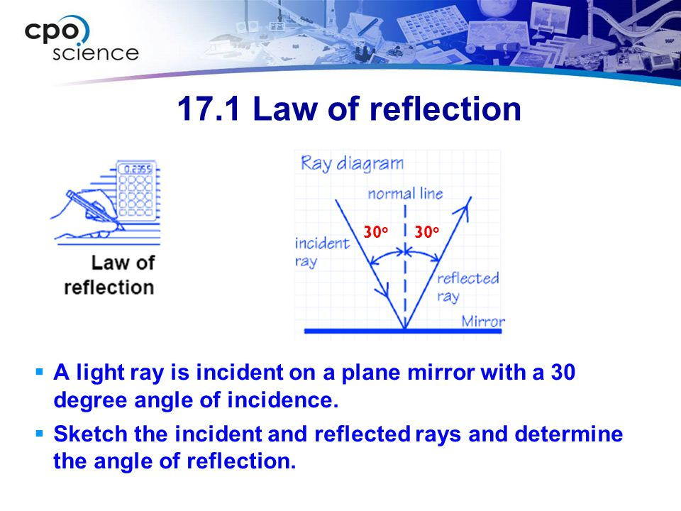 17.1 Law of reflection 30o. 30o. 1) You are asked for a ray diagram and the angle of reflection. 2) You are given the angle of incidence.