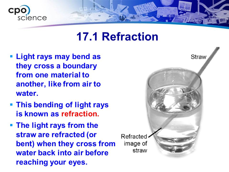 17.1 Refraction Light rays may bend as they cross a boundary from one material to another, like from air to water.