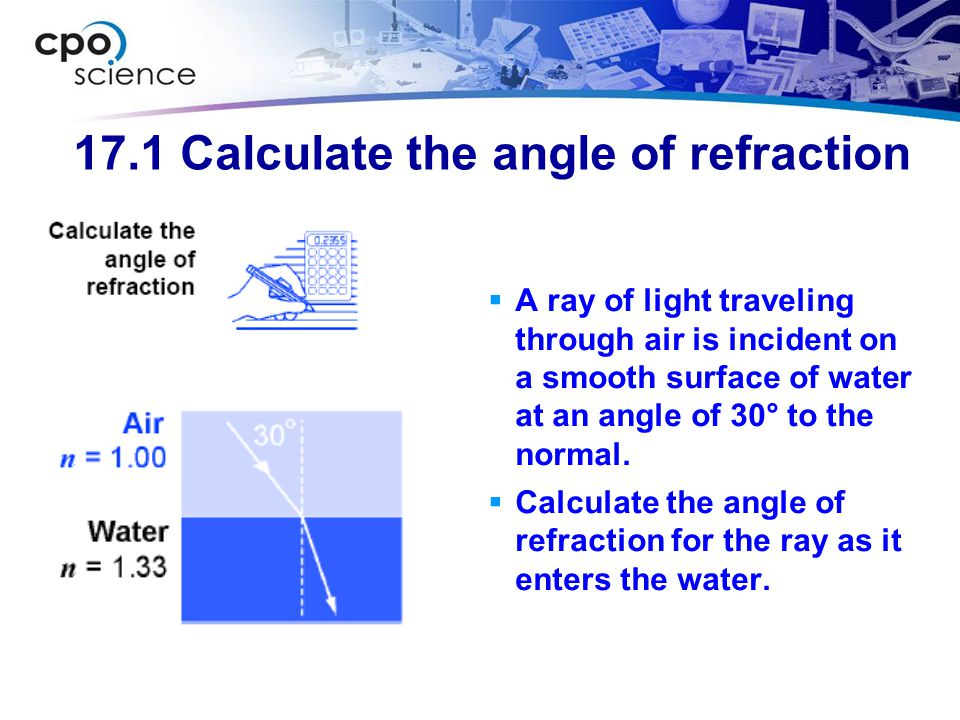 17.1 Calculate the angle of refraction