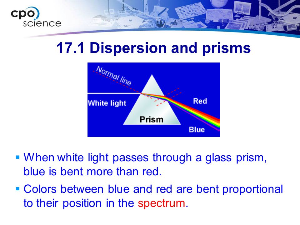 17.1 Dispersion and prisms When white light passes through a glass prism, blue is bent more than red.