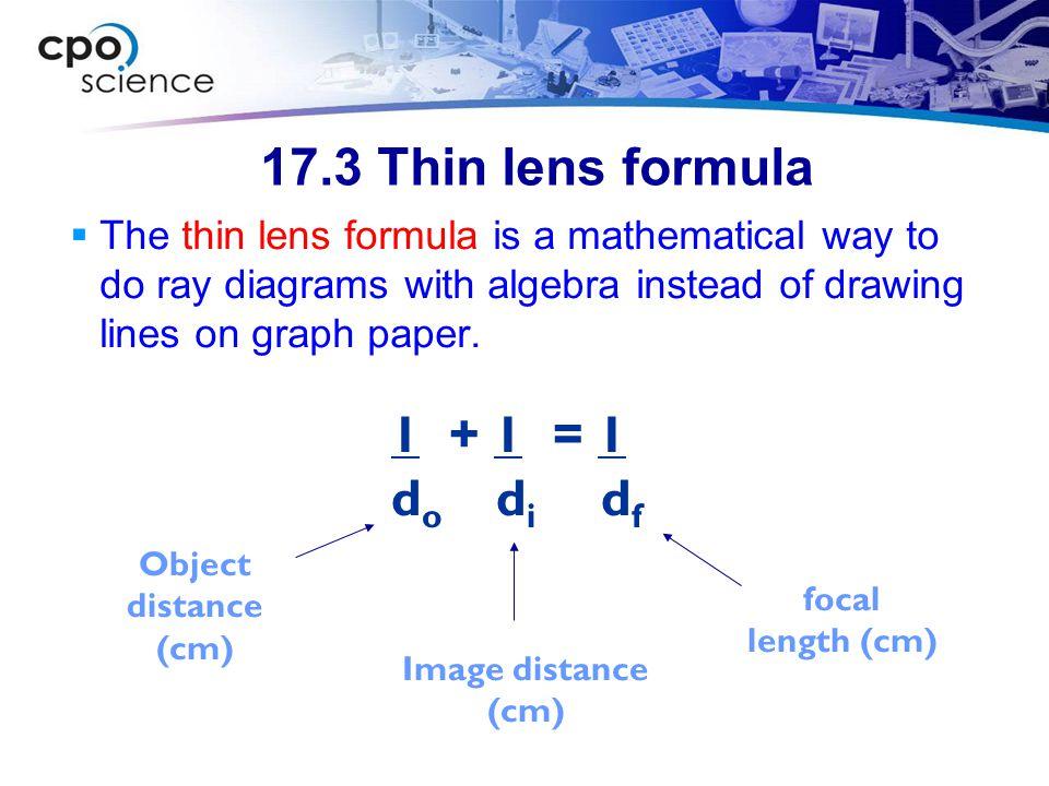 17.3 Thin lens formula 1 + 1 = 1 do di df