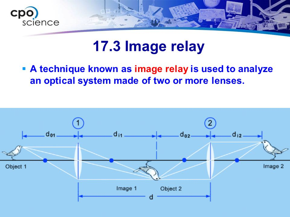 17.3 Image relay A technique known as image relay is used to analyze an optical system made of two or more lenses.
