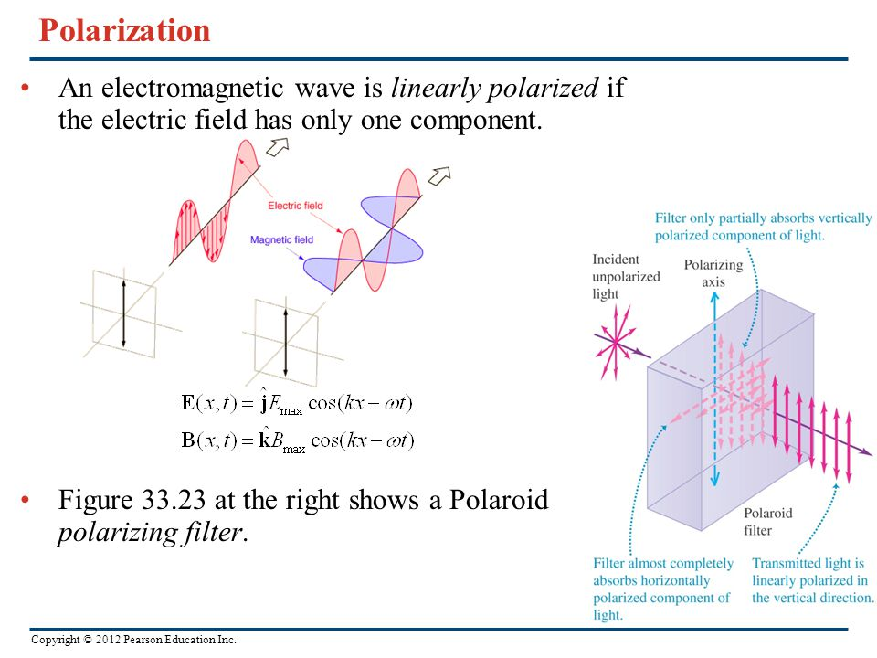 Polarization An electromagnetic wave is linearly polarized if the electric field has only one component.