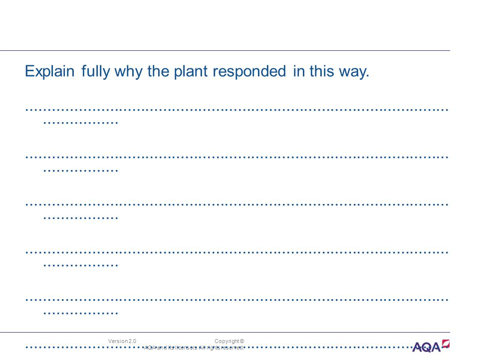 Explain fully why the plant responded in this way.