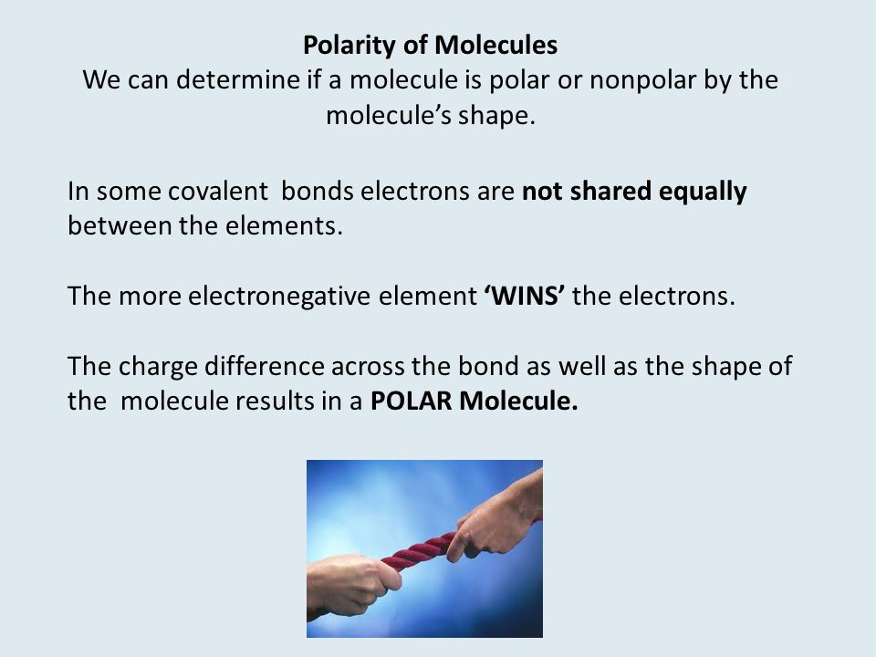 Polarity of Molecules We can determine if a molecule is polar or nonpolar by the molecule's shape.