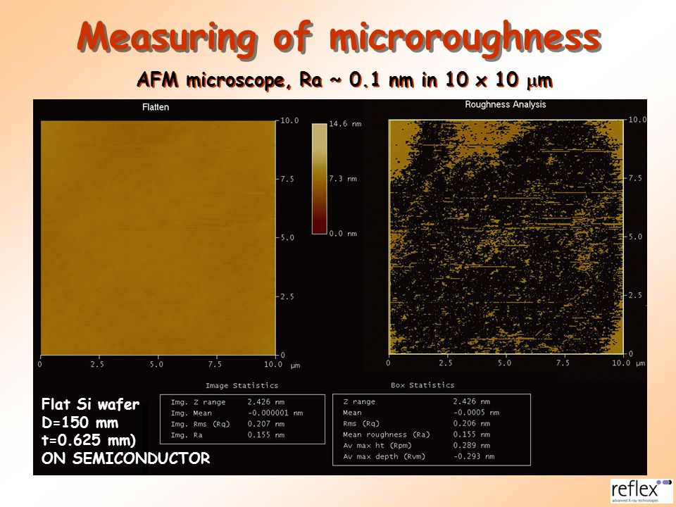 Measuring of microroughness AFM microscope, Ra ~ 0.1 nm in 10 x 10 mm