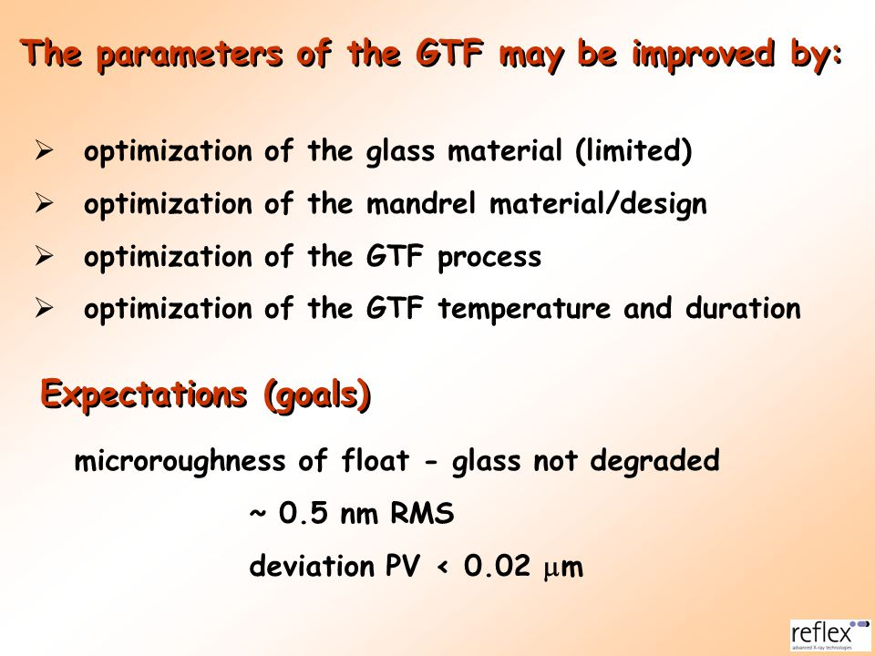 The parameters of the GTF may be improved by: